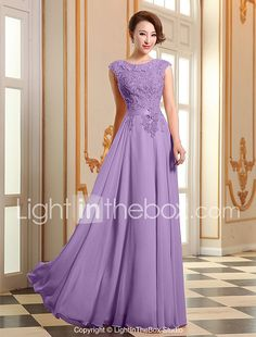 A-Line Jewel Neck Floor Length Georgette Prom Formal Evening Dress with Beading Appliques Pearl Detailing by CHQY 2017 - Evening Dresses Online, Cheap Evening Dresses, Elegant Dresses, Beautiful Dresses, Formal Dresses, Chiffon Evening Dresses, Illusion Dress, Sweet Dress, Groom Dress