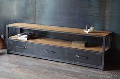 Meuble tv industriel 1 niche 3 tiroirs acier bois sur mesure - MICHELI Design