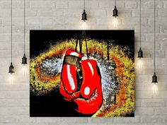 Boxing Poster Boxing Gloves Wall Art Cool Boxing Decor Red