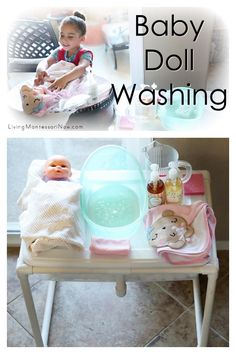 This baby doll washing activity is a wonderful practical life activity for toddlers and preschoolers. Includes video and ideas with resources for various ages and skill levels - Living Montessori Now #Montessori #practicallifeskills #dollwashing #newbaby #dollcare