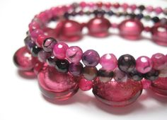 Pink and Mauve Three Strand Stacked Bracelet by GlimpseCreations, $30.00