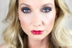 Holiday look using Victoria's Secret Holiday Glamour Eye Kit - with red lips