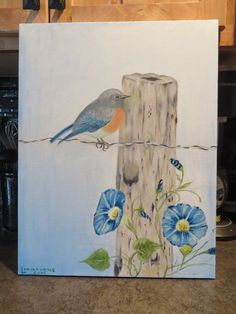 Western Bluebird with Morning Glories in Oils 14 by LinsFinalTouch