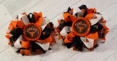Texas Longhorn Pigtail hair bows  Loopy hair bow  Stacked