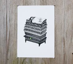 SALE Screenprint poster Princess and the pea on by Pizublic