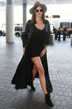 b693c927fa Miranda Kerr shows off plenty of leg in thigh-skimming mini dress