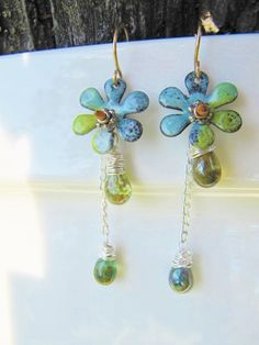 Spring Rain Enamel Earrings Enamel Jewelry Mixed by Gasquetgirl, $32.00