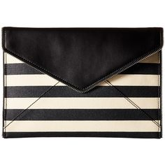 Rebecca Minkoff Leo Clutch (Black Multi) featuring polyvore, women's fashion, bags, handbags, clutches, saffiano leather handbags, rebecca minkoff purse, rebecca minkoff, rebecca minkoff clutches and rebecca minkoff handbags
