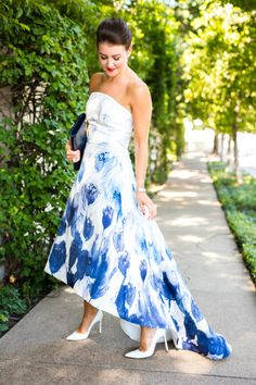 Blue & White Gown - Dallas Wardrobe