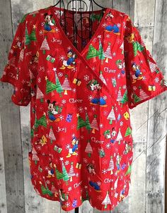 Disney Christmas Medical Scrubs Top Nursing Uniform Cotton Holiday Womens 2XL #Disney
