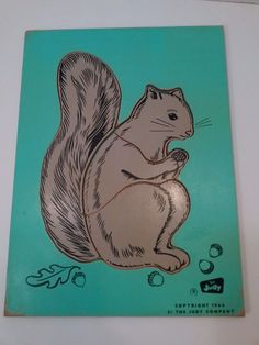 Rare Vintage Grey Squirrel Wooden Puzzle by The Judy Company 1966 4 pcs  #TheJudyCompany