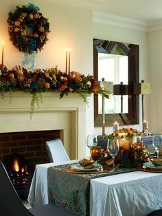 Christmas Supper table, coppers, teals and blues. Photo by Rachael Smith