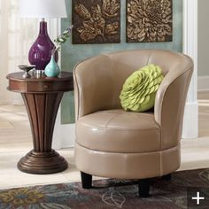 Leather swivel chair and side table by Grandin road.