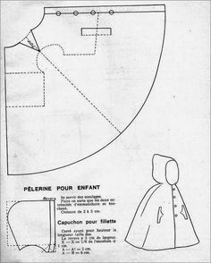 Marvelous Photo of Cloak Sewing Pattern Cloak Sewing Pattern The 1951 Kids Hooded Cloak Cloaks Capes And Hoods Doll Clothes Patterns, Sewing Clothes, Doll Patterns, Clothing Patterns, Diy Clothes, Sewing Patterns, Cape Sewing Pattern, Kids Cape Pattern, Dress Sewing