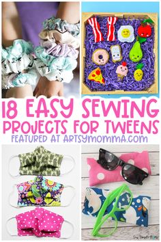 Easy sewing projects for kids ages 8-12 - perfect for beginners! This fun DIY list includes 18+ beginner sewing ideas. Easy Kids Sewing Projects, Diy Craft Projects, Diy Crafts For Kids, Sewing Ideas, Easy Crafts, Arts And Crafts, Cardboard Art, Activity Ideas, Sewing For Beginners