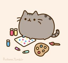 Pusheen making art