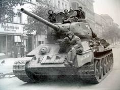 T-34 tank stands in front of stationery shop in Berlin