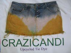 MINI tie dyed upcycled blue jean skirt  boho hippie by crazicandi, $20.00