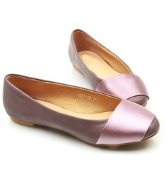 Womens Leather Spicing Satin Flat Shoes