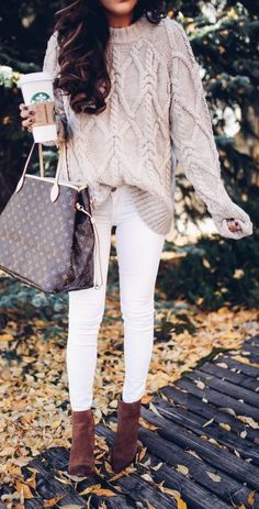 fall outfit ideas / cable knit sweater + booties