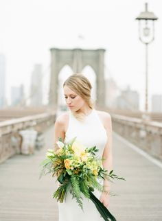Classic modern bride wearing a Sarah Seven wedding dress: http://www.stylemepretty.com/2016/08/24/brooklyn-ny-inspiration-shoot/ Photography: Ruth Eileen - http://rutheileenphotography.com/