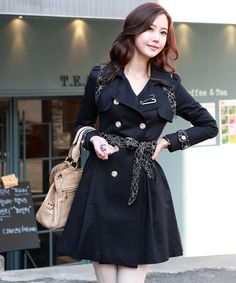 Fashion Korean Women&39s Coat Double-breasted Military Style Wool