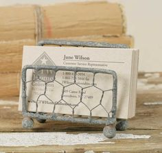 Barn Roof Chicken Wire Business Card Holders, Set of Holds standard size business cards. wide and deep. You will receive two business card holders. Farmers Market Display, Market Displays, Booth Displays, Store Displays, Business Place, Craft Business, Business Ideas, Business Products, Business Design