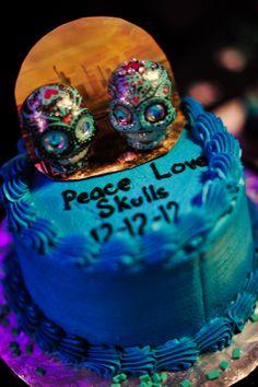 Peace, Love & Skulls wedding cake topper.