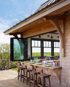 Indoor Outdoor Kitchen, Outdoor Kitchen Design, Outdoor Living, Outdoor Decor, Outdoor Bars, Outdoor Kitchens, Kitchen Seating, Outdoor Ideas, Indoor Balcony