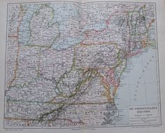 1897 Die Nordoststaaten Der Union alte Landkarte antique map Lithographie   eBay
