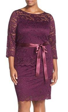 Marina Tiered Stretch Lace Sheath Dress (Plus Size)