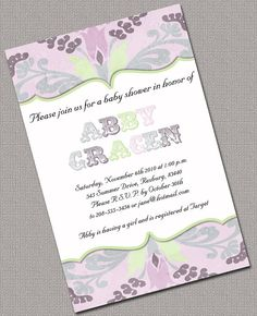 Baby Girl Shower Invitations Printable Lavender by alittletreasure, $13.50