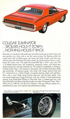 1970 Mercury Cougar Eliminator #Mercury #Rvinyl ========================== https://www.rvinyl.com/Mercury-Accessories.html
