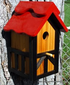 Outdoor wood Painted Bird house/Nesting Box  by MyRetirementGig,