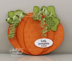 Pumpkin from large oval, circle, and small oval. Large and small ovals die-cut from designer paper. All shapes sponged on edges. Thanksgiving Greeting Cards, Fall Cards, Holiday Cards, Pumpkin Template, Pumpkin Cards, Scrapbook Cards, Scrapbooking, Halloween Cards, Creative Cards