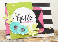 Hello card by Sarah Gough using Wplus9 stamps and dies, Memento Luxe and Avery Elle inks and Heidi Swapp papers from iheartpapers.com