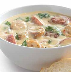 Cooler nights definitely call for soup. Sausage Zuppa Soup is made with roasted pepper and Asiago chicken sausage - all of the flavor with less of the guilt! It's full of vegetables too, so it's a soup you can feel good about serving your family. Plus it takes less than 30 minutes to make!