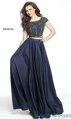 Shop Sherri Hill two-piece long prom dresses at Simply Dresses. Open-back designer formal dresses with beaded crop tops and long circle skirts.
