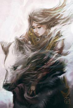 Girl and Wolf by vitellan.deviantart.com on @deviantART