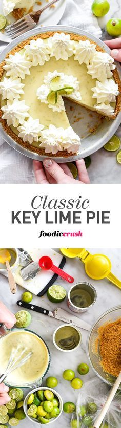 This fresh, tart key lime pie recipe is the same one you'll remember from being kid. And with just a few ingredients to blend together, kids of any age can make it too. | foodiecrush.com #pie #keylime