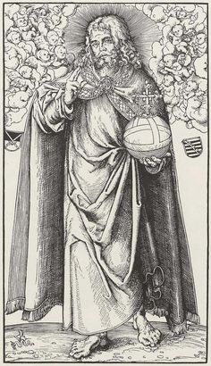 "Cranach the Elder (signed), Christ, Woodcut, 32.9 x 18.4 cm, ca. 1512, Berlin, Kupferstichkabinett, from a series of 14 sheets ""Christ and the 12 apostles"""