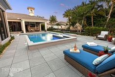 Create a bold, modern look when designing your pool deck with Porcelain Chrome pavers from Tremron