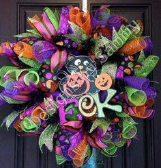 Halloween decomesh Wreath by SammysWreathBoutique on Etsy