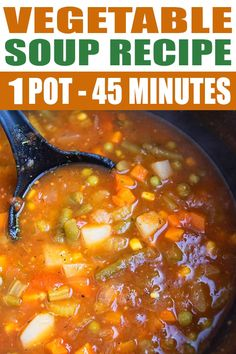 Quick and easy vegetable soup recipe made in one pot in less than 1 hour, using simple ingredients. It's healthy, packed with vegetables and Italian herbs and spices. Homemade Vegetable Soups, Veg Soup, Vegetable Soup Healthy, Vegetable Soup Recipes, Vegetarian Soup, Homemade Soup, Healthy Soup Recipes, Vegetarian Recipes, Cooking Recipes
