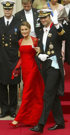 Spanish Prince Felipe and Princess Letizia at the wedding ceremony of Crown Prince Frederik and Crown Princess Mary, 2004.