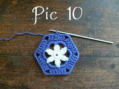 Grandma Star Hexagon Tutorial, from The Royal Sisters - super-simple, join with slip stitches at the corners.    . . . .   ღTrish W ~ http://www.pinterest.com/trishw/  . . . .  #crochet #motif