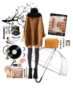 """Autumn"" by amazingreader on Polyvore featuring WALL, ShedRain, Rimmel, Missguided, Yves Saint Laurent, Zimmermann, Maison Michel, DANNIJO, Bijoux de Famille and Accessorize"