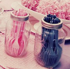Store plastic utensils in mason jars in your event color to add a shabby chic/vintage feel and to brighten up dull plastic utensils!