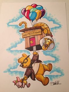 Winnie the Pooh / Up mashup by James Silvani. Disney And Dreamworks, Disney Pixar, Walt Disney, Disney Characters, Cute Disney, Disney Dream, Disney Magic, Winne The Pooh, Disney Winnie The Pooh