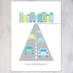 Jubel - A3 Poster, City Car, 297 x 210 cm matt paper, by Jubelshop on Etsy. www.jubelshop.no